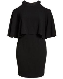 Cold Shoulder Crepe Sheath Dress