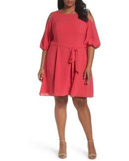Gauzy Crepe Cold Shoulder Dress