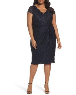 Embellished Stretch Lace Sheath Dress
