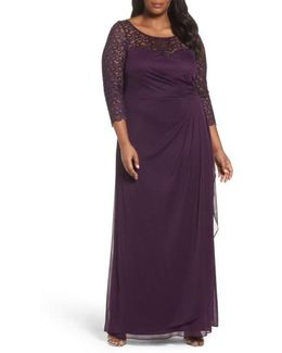 Lace & Matte Jersey Gown