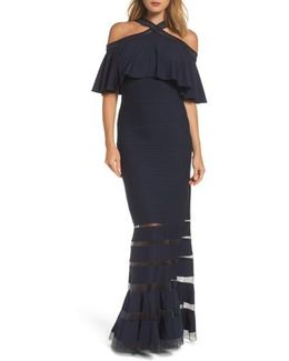 Jersey Cold-shoulder Gown