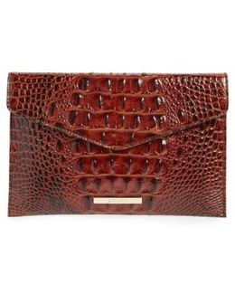 Melbourne Croc Embossed Leather Envelope Clutch