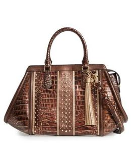 Milan Arden Embossed Leather Satchel