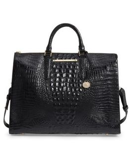 Melbourne Croc Embossed Leather Business Tote