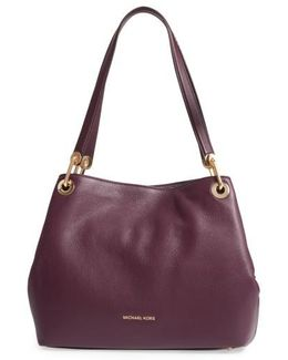 Large Raven Leather Tote - Purple