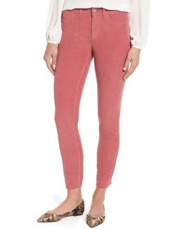 Alina Frayed Stretch Corduroy Ankle Jeans