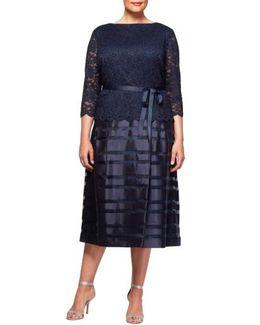 Mock Two-piece A-line Midi Dress