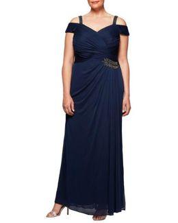 Embellished Cold Shoulder Gown