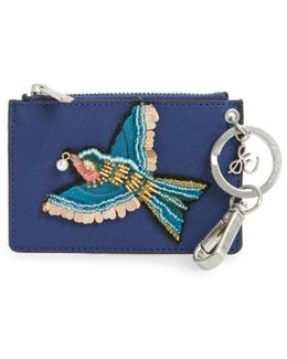 Carter Bird Embellished Faux Leather Card Case