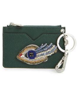 Carter Eye Embellished Faux Leather Card Case