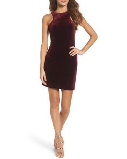 High Neck Velvet Body-con Dress