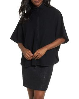 Zip Front Boiled Wool Cape