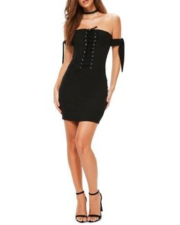 Bardot Corset Sleeve Body-con Dress