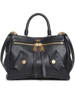 Grainy B Leather Satchel