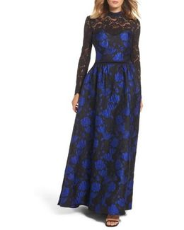 High Neck Rose Jacquard Gown