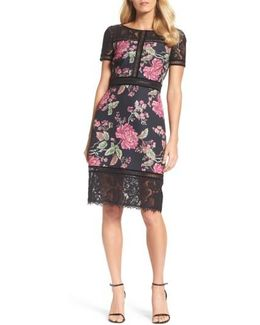 Floral Neoprene & Lace Sheath Dress