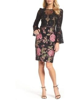 Lace & Brocade Sheath Dress
