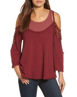Crochet Inset Double Layer Top