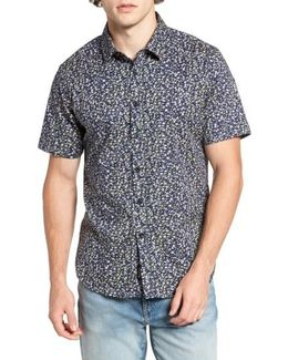 Night Fall Floral Print Short Sleeve Sport Shirt