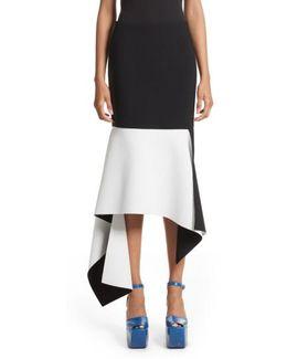 Asymmetrical Bicolor Crepe Skirt