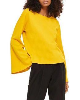 Split Back Bell Sleeve Sweatshirt