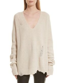 Distressed Wool & Cashmere Sweater