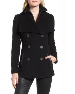 Double-breasted Wool Blend Peacoat