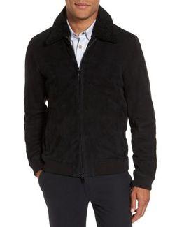 Genuine Shearling Collar Suede Jacket
