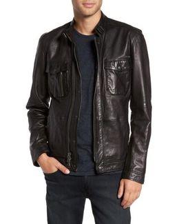 John Varvatos Leather Zip Front Jacket