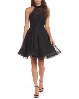 Beaded Lace Fit & Flare Dress