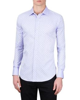 Shaped Fit Checker Print Sport Shirt