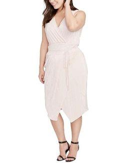 Foiled Faux Wrap Dress