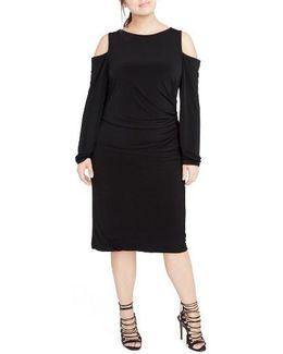 Cold Shoulder Jersey Midi Dress