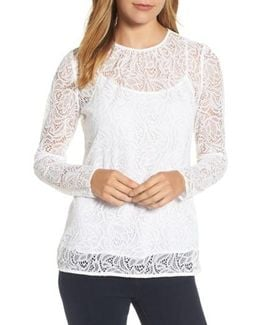 Stretch Lace Overlay Tee
