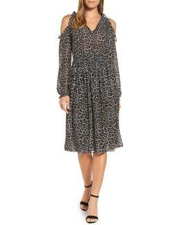 Leopard Cold Shoulder Midi Dress