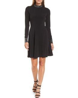 Grommet Mock Neck Knit Dress