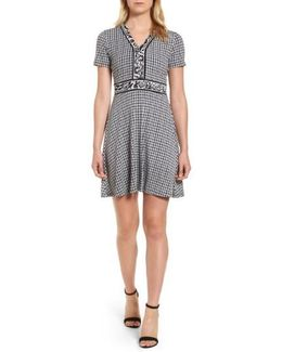 Houndstooth Cat Border Fit & Flare Dress