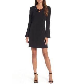 Grommet Lace Shift Dress