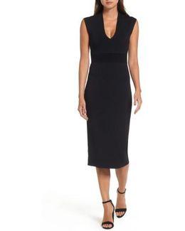 Rib Waist Knit Midi Dress