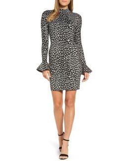 Metallic Cheetah Sheath Dress