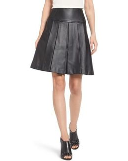 Pleat Faux Leather Skirt