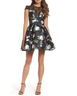 Lace Inset Floral Fit & Flare Dress