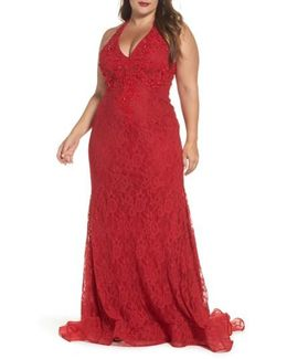 Macduggal Lace Halter Dress