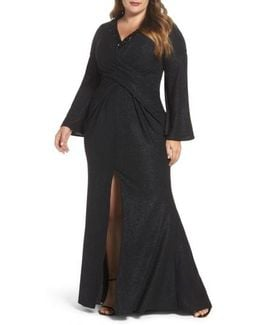 Bell Sleeve Embellished Gown