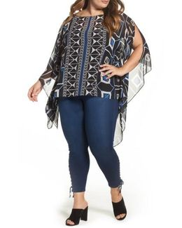 Graphic Poncho Top