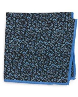 Clover Print Wool Pocket Square