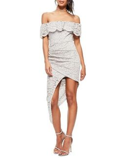 Off The Shoulder Asymmetrical Lace Dress