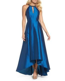 Beaded Neck Faille Gown