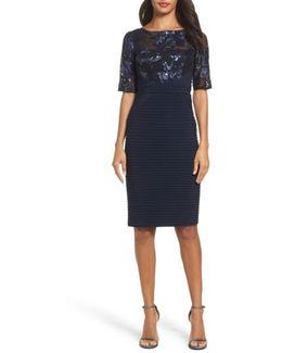 Floral Sequin & Jersey Sheath Dress