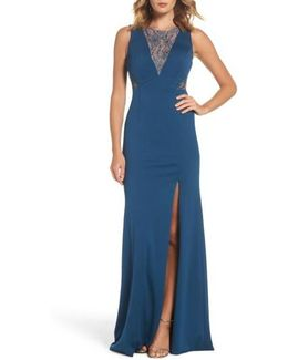Lace & Jersey Gown